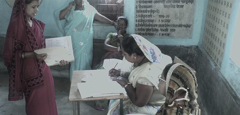 An Anganwadi worker at a Centre in village Chandra Medha, Block Bhaiyathan, District Surajpur, Chattisgarh